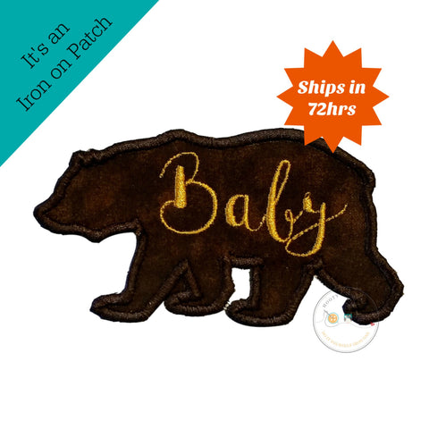 Baby bear silhouette iron on applique