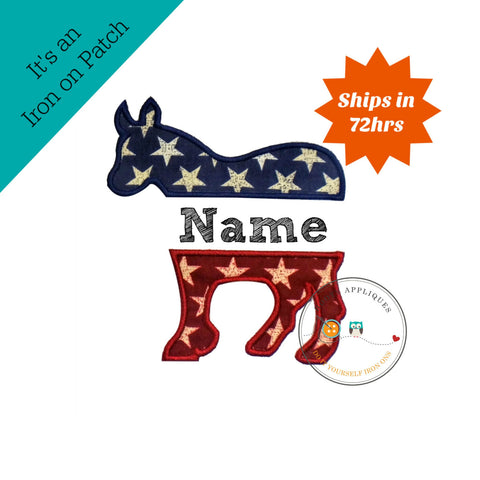 PatrioticDemocrate party donkey iron on applique