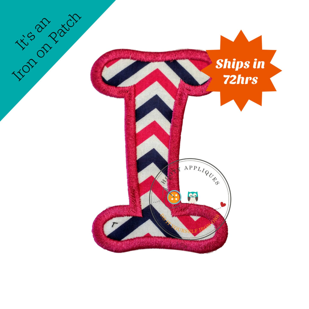 Chunky curls letter I iron on applique, Girls nautical monogram, iron on