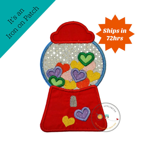 Candy heart bubblegum machine, Valintine's day emboridered iron on applique