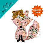 Plush pink mink fox iron on patch, gold glitter bow embroidery patches