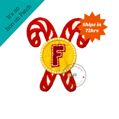 Christmas candy cane initial letter F- iron embroidered fabric applique