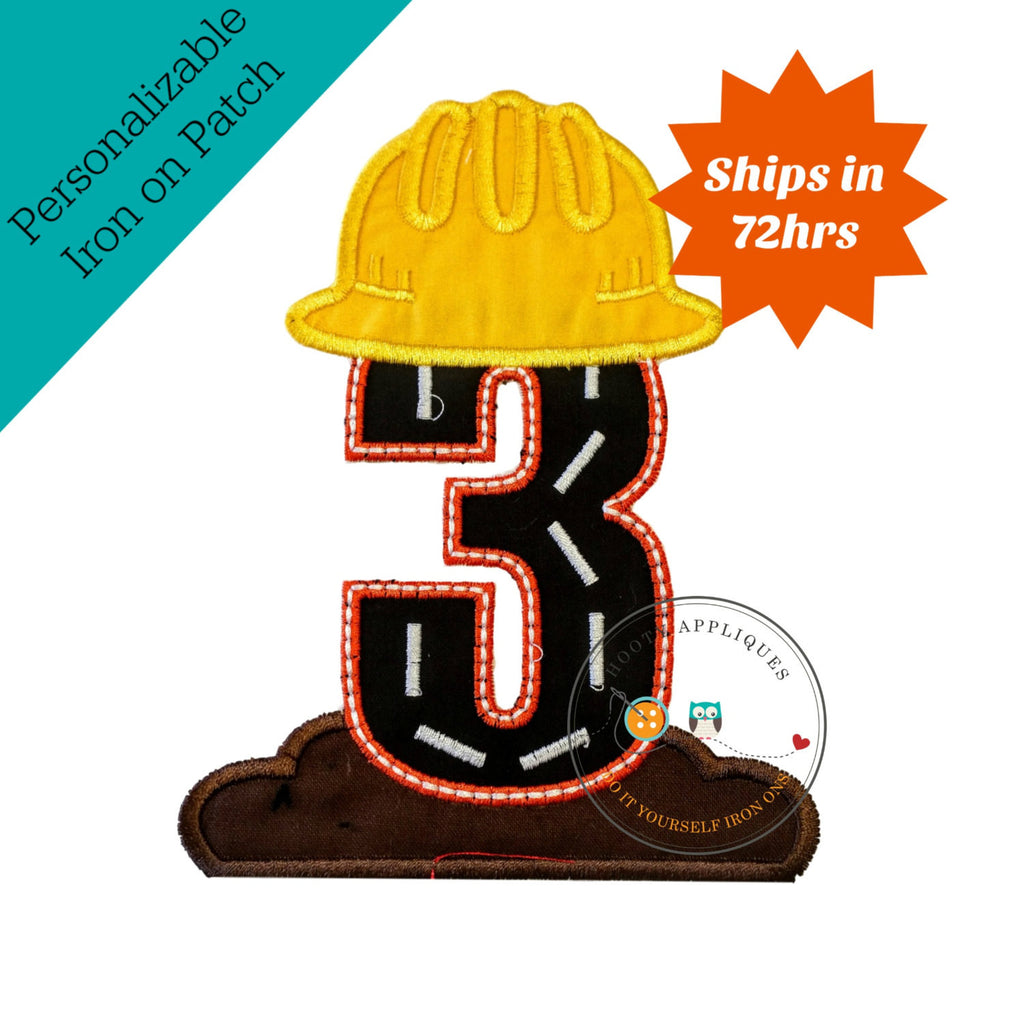 Hard hat construction birthday number 3 iron on