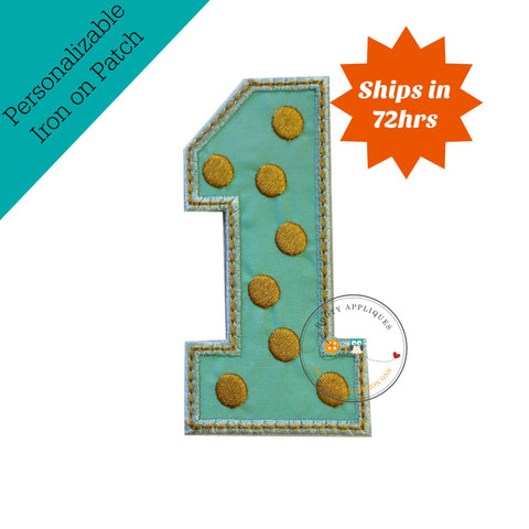 Gold and mint pink birthday number one iron on applique