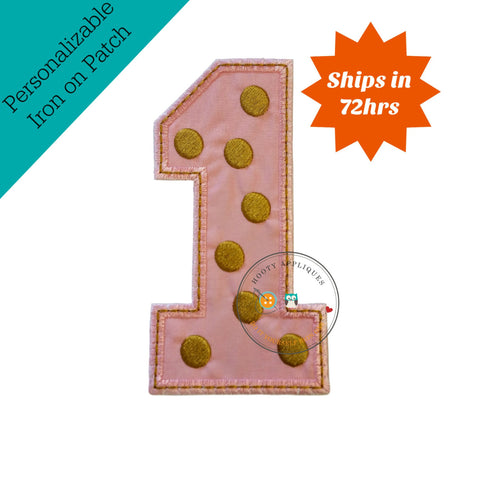 Gold and rose pink birthday number one iron on applique
