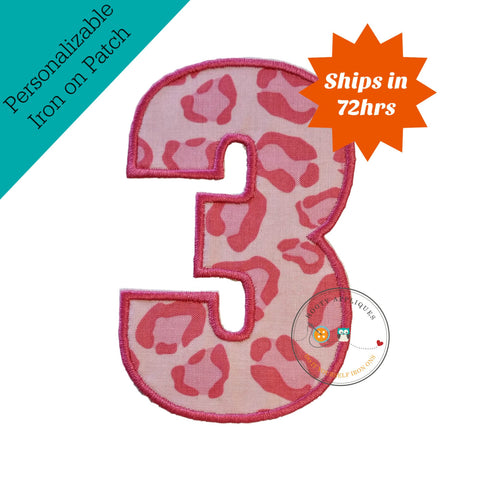 Large pink cheetah print number 3- iron on patch