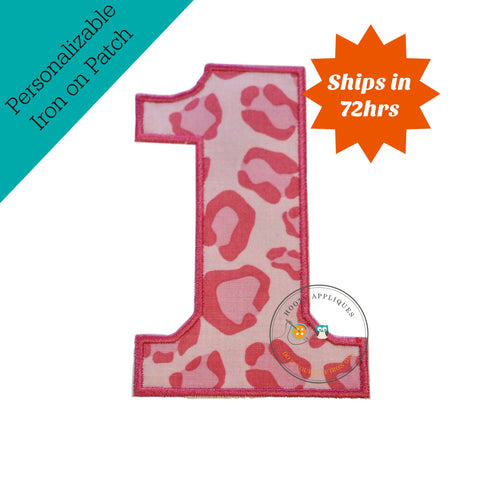 Large pink cheetah print number 1- iron on patch