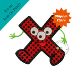 Monster letter X applique, initial embroidered patch
