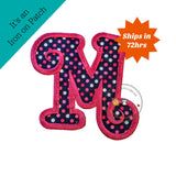 Chunky curls letter M iron on applique, Girls nautical monogram, iron on