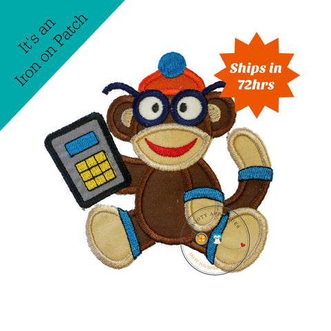 Back to school boy monkey with glasses and calculator