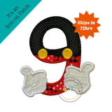 Mickey inspired iron on birthday number 9, boy birthday mickey embroidered iron on patch