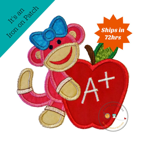 Back to school girl monkey with apple