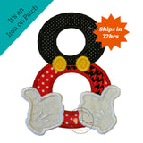 Mickey inspired iron on birthday number 8, boy birthday mickey embroidered iron on patch