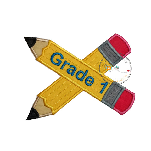 Large 1st grade pencils- back to school - Iron on patch