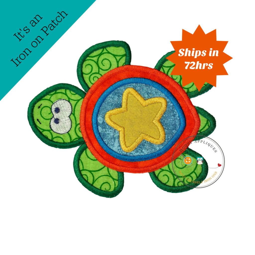 Large boy sea turtle - iron embroidered fabric applique