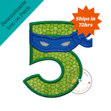 Turtle ninja number 5 with blue   mask  - iron embroidered fabric applique patch embellishment- ready to ship