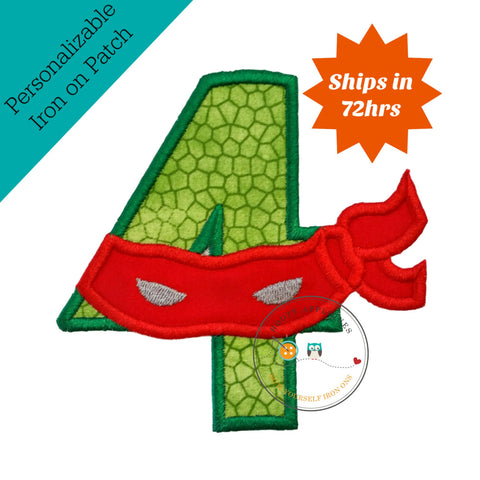 Turtle ninja number 4 with red mask  - iron embroidered fabric applique patch embellishment- ready to ship