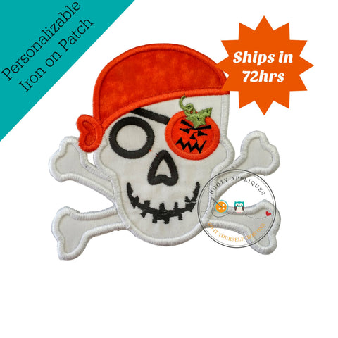 Halloween pirate skull and cross bones-orange pumpkin- Iron embroidered fabric applique