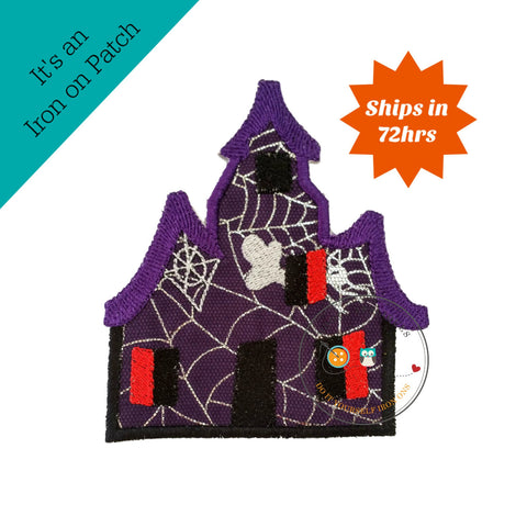 Large spooky house purple iron embroidered fabric applique
