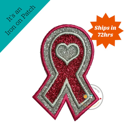 Glitter awareness ribbon- Iron on embroidered fabric applique