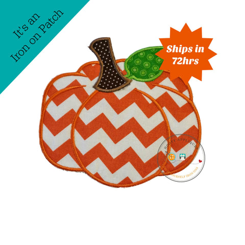 Chevron  pumpkin - large iron embroidered fabric applique