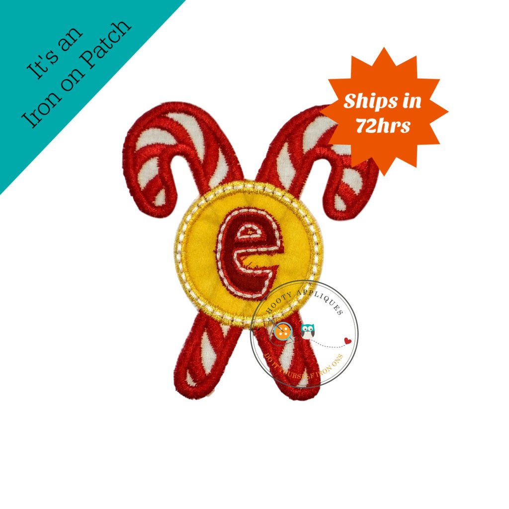 Christmas candie cane initial letter E- iron embroidered fabric applique