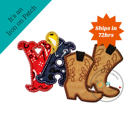 Ya'll western text with cowboy boots and bandanna pattern fabric- embroidered fabric iron on patch, ready to ship, pre-made, embellishment