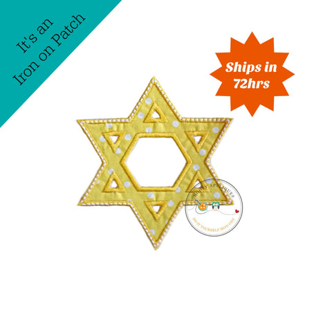 Bright Yellow Star of David Holiday machine embroidered fabric iron on