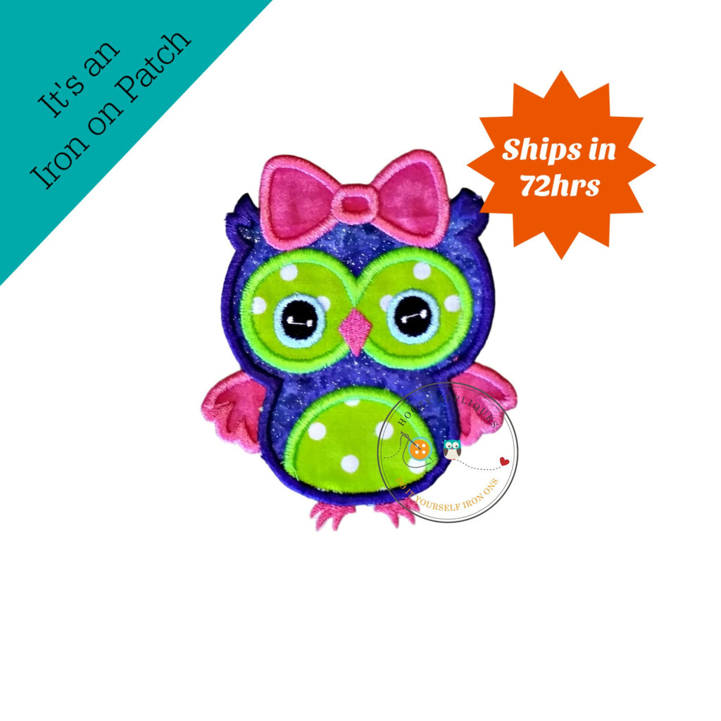 Purple and lime green girl owl with pink bow machine embroidered fabric iron on