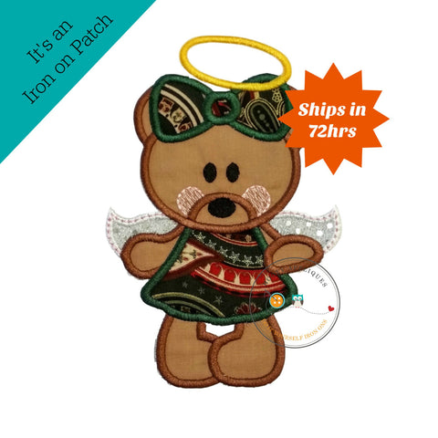 Christmas angel bear - iron on embroidered fabric applique