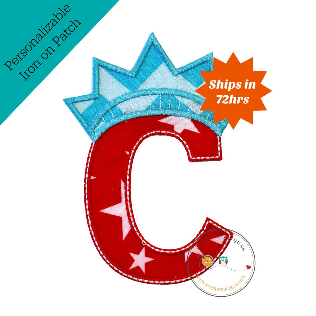 Star spangle inital letter C iron on applique, Patriotic monogram embroidered patch