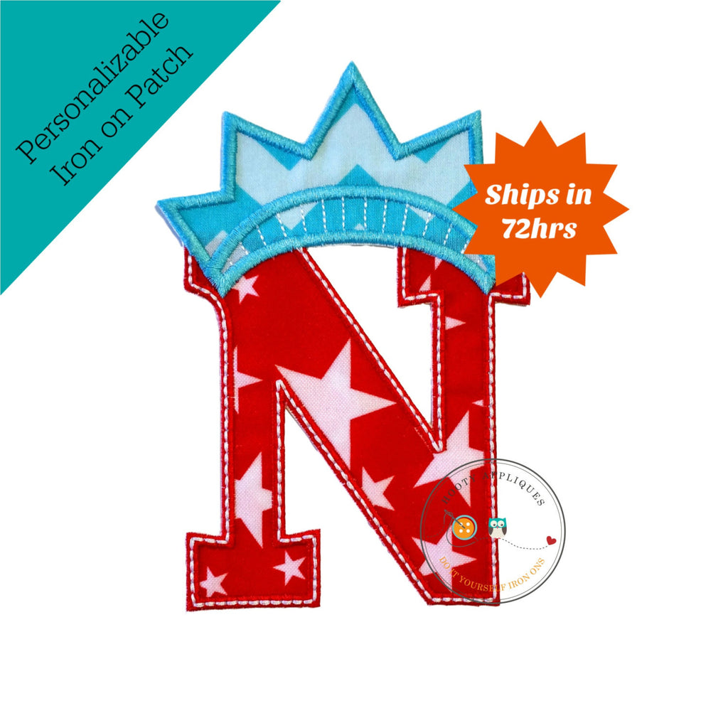 Star spangle inital letter N iron on applique, Patriotic monogram embroidered patch