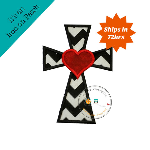 Cross with heart in black and white pen dot fabric - iron embroidered fabric applique