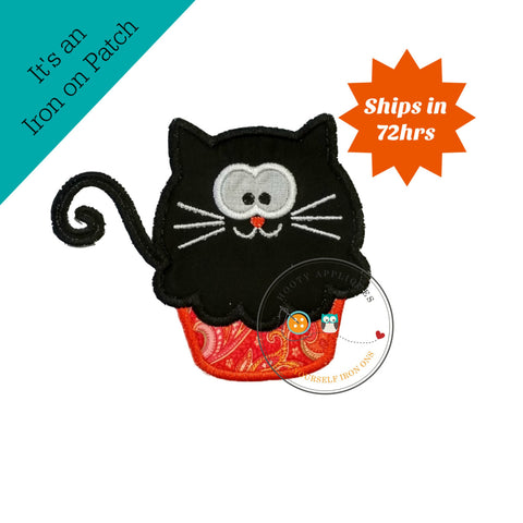 Black cat cupcake - large- iron embroidered fabric applique