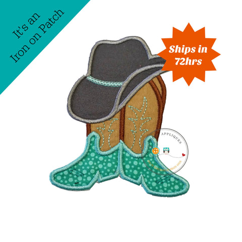 Cowboy hat with brown and tan boots and teal ban western fabric applique