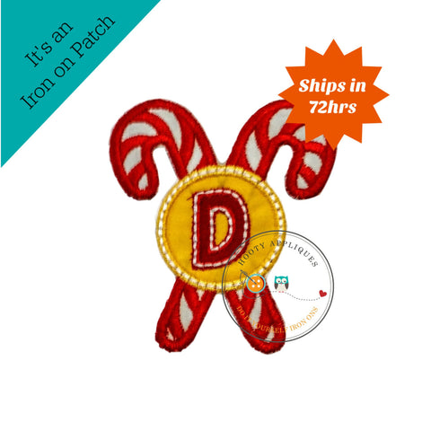 Christmas candie cane initial letter D- iron embroidered fabric