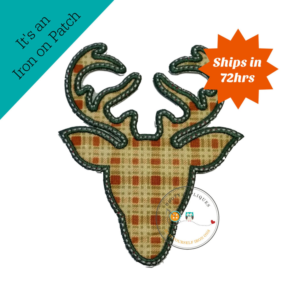 Plaid deer head with green trim- iron on patch
