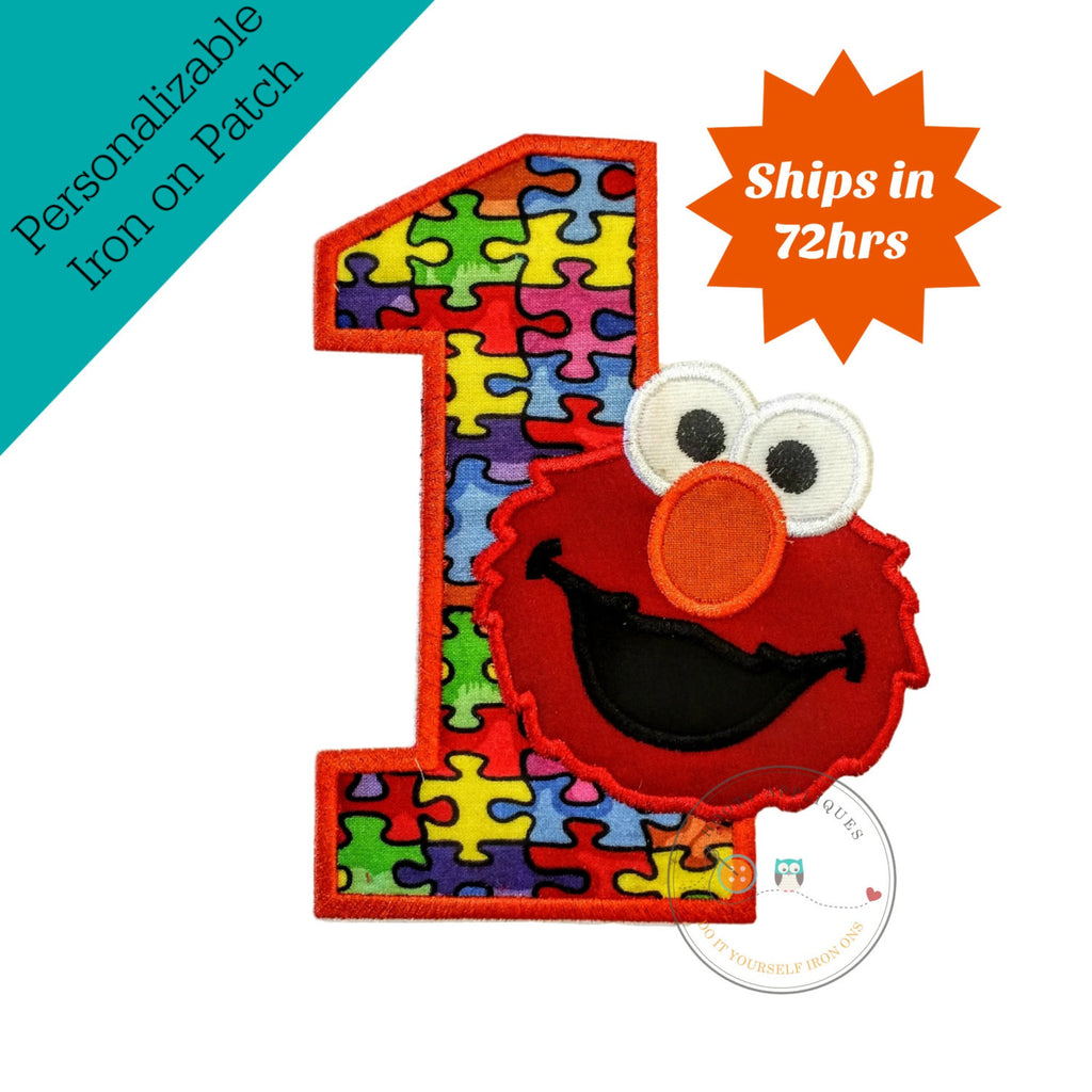 Puzzle piece birthday number one with red monster- iron on embroidered fabric applique patch