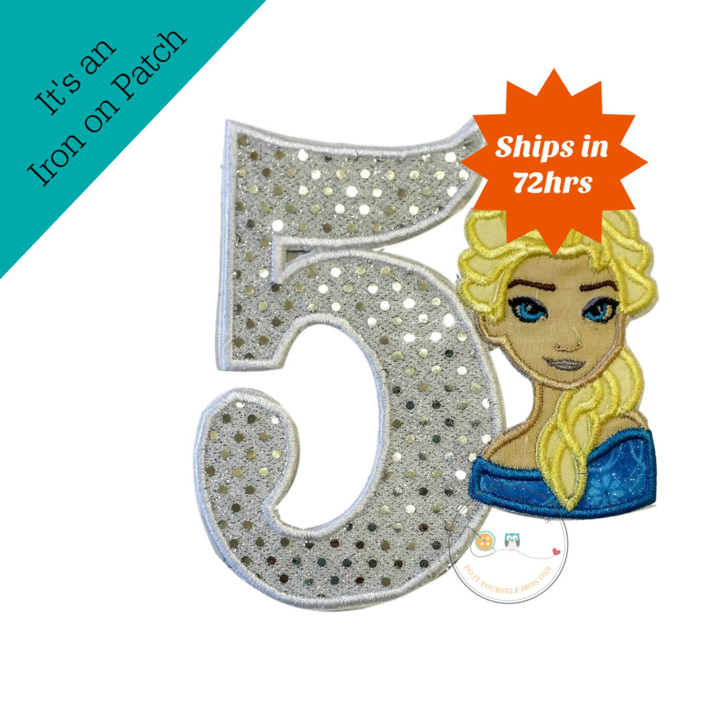 Ice princess with sequin number 5- iron on applique patch