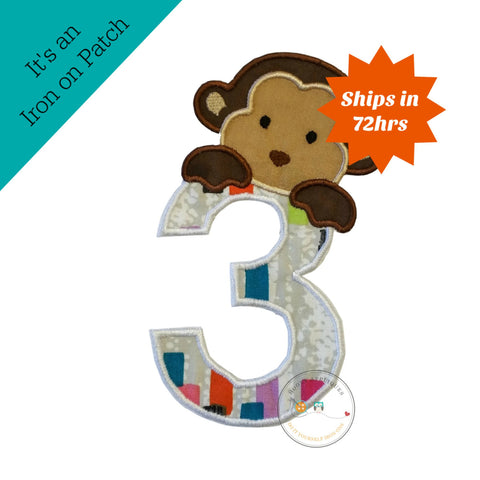 Peek-a-boo monkey birthday number 3 iron on applique