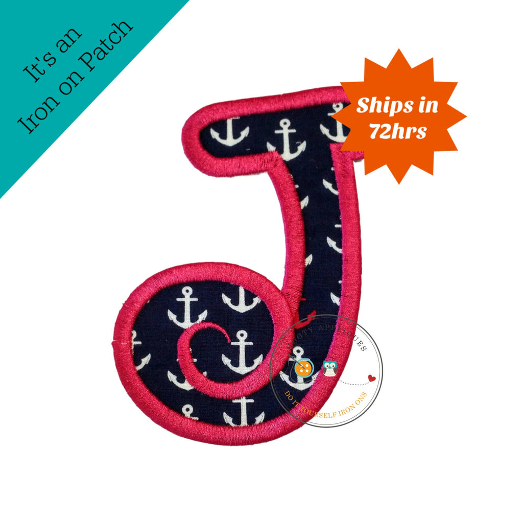 Chunky curls letter J iron on applique, Girls nautical monogram, iron on