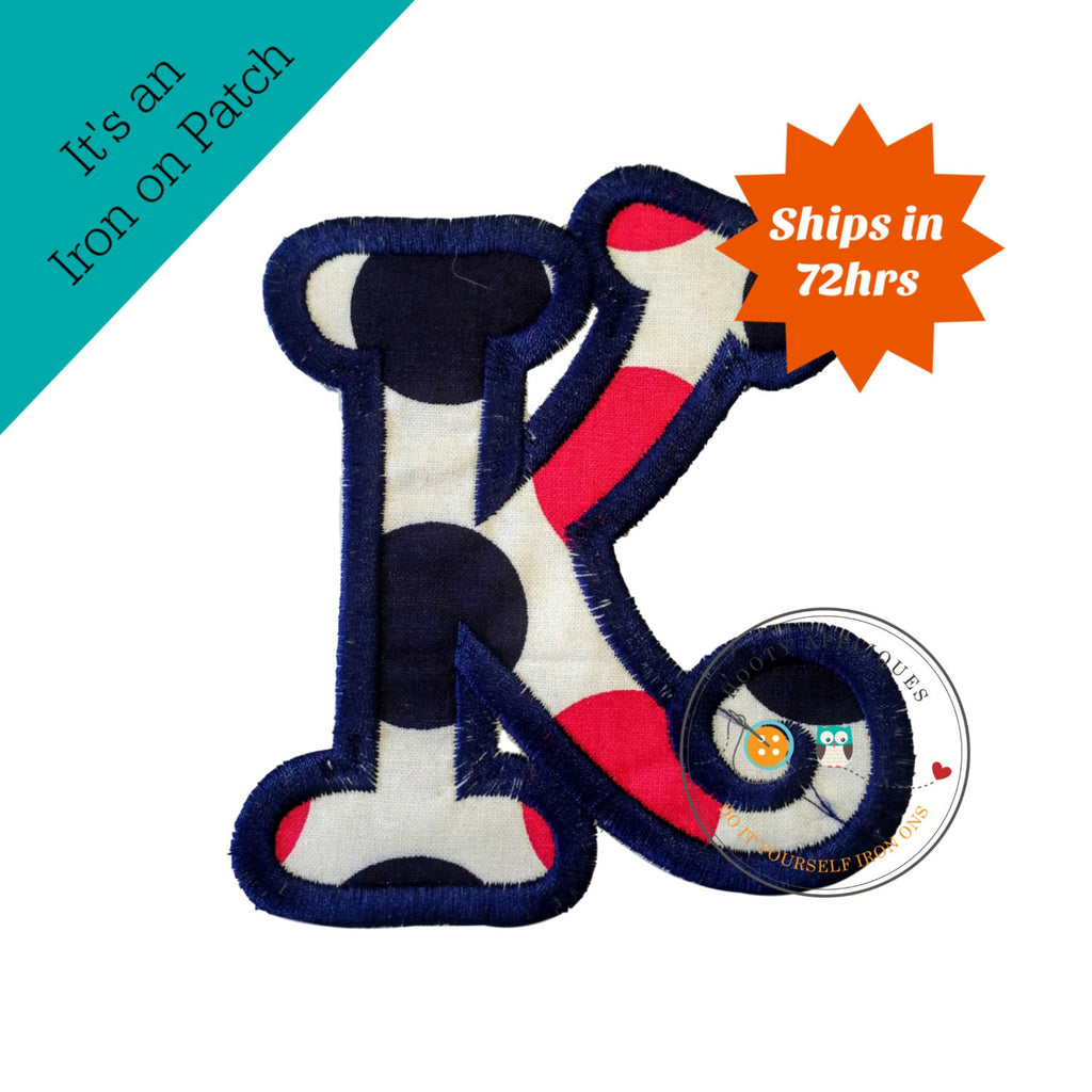 Chunky curls letter K iron on applique, Girls nautical monogram, iron on