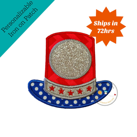 Glitter Uncle Sams top hat iron on applique, July 4th embroidered fabric applique
