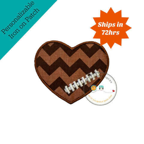 Chevron football heart- iron embroidered fabric applique patch