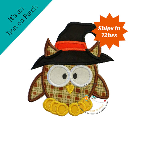 Large halloween brown plaid owl with witch hat - iron on patch