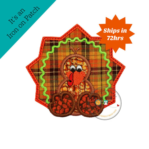 Fall orange and brown turkey iron on embroidered fabric applique patch