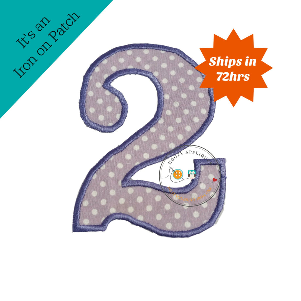 Large purple and white polka dots number 2 - iron on patch