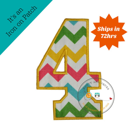 Large teal, yellow, green and pink chevron  number 4- iron on patch