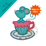Large mouse tea party- iron embroidered fabric applique
