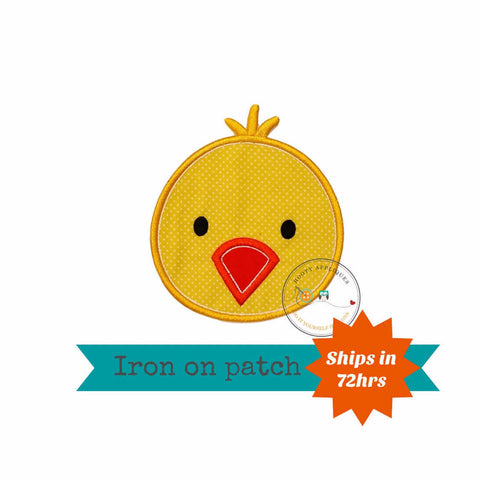 Bright yellow chick iron on patch
